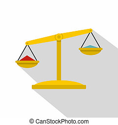 Justice scales icon, flat style - Justice scales icon. Flat...