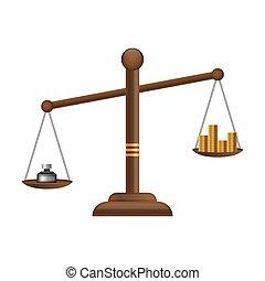 Justice scales icon. Law balance symbol. Libra flat design ...