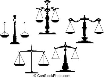 Retro justice scales set isolated on white background