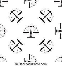 Justice scales silhouette icon seamless pattern on white background. Vector Illustration