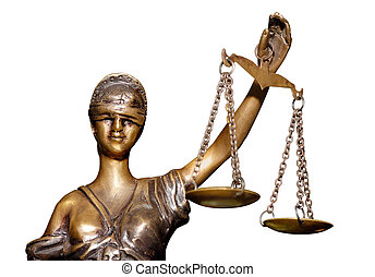 Justice Scales - Statue of justice holding balanced scales...