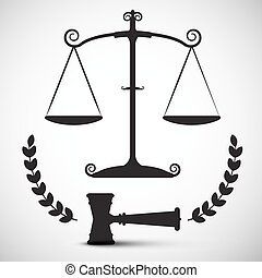 Justice Scales Symbol. Vector Law Hammer - Gavel Pictogram.