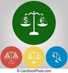 Justice scales with currency exchange sign. Vector. 4 white styles of icon at 4 colored circles on light gray background.