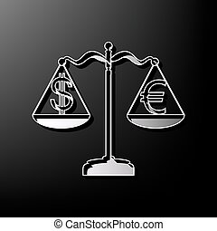 Justice scales with currency exchange sign. Vector. Gray 3d printed icon on black background.