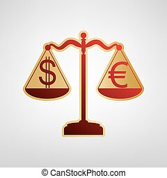 Justice scales with currency exchange sign. Vector. Red icon on gold sticker at light gray background.