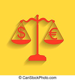 Justice scales with currency exchange sign. Vector. Red icon with soft shadow on golden background.