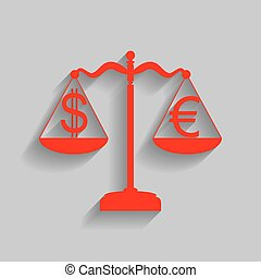 Justice scales with currency exchange sign. Vector. Red icon with soft shadow on gray background.