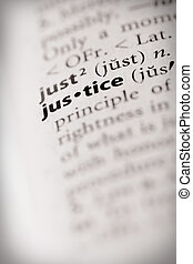 "Justice - Selective focus on the word \""justice\\\"". Many..."