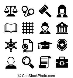 justice, set., vecteur, droit & loi, icônes