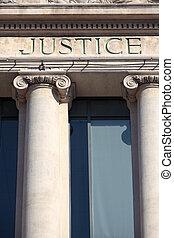 justice, signe, sur, a, salle audience, bâtiment.