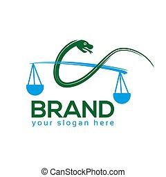 Justice Snake Logo. flat design. Vector Illustration on white background