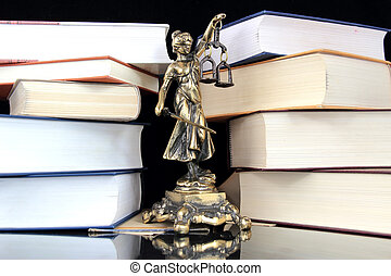 Justice Statue and books. Lawyer background