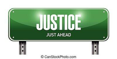 justice street sign illustration