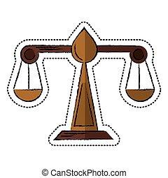 justice, symbole, échelle, dessin animé, droit & loi