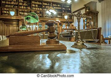 justice, symbole, bibliothèque loi
