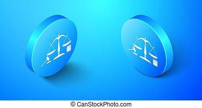 justice, symbole, légal, arrière-plan., enchère, concept, droit & loi, vecteur, button., livre, law., balances, bleu, icône, symbole., isolé, isométrique, cercle, marteau, justice.