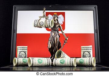 justice, symbole, prise vue., dollar, laptop., une, billets banque, drapeau, studio, droit & loi, pologne