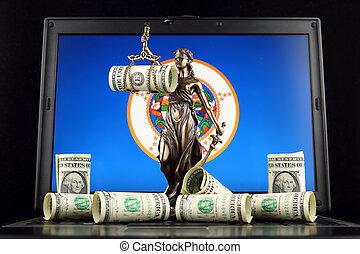 justice, symbole, prise vue., dollar, minnesota, une, billets banque, état, studio, laptop., drapeau, droit & loi