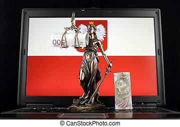 justice, symbole, prise vue., laptop., billets banque, zloty, drapeau, studio, polonais, droit & loi, pologne