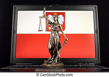 justice, symbole, prise vue., laptop., drapeau, studio, droit & loi, pologne