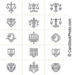 justice, symboles, ensemble