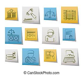 justice, système juridique, icônes