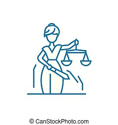 Justice system linear icon concept. Justice system line vector sign, symbol, illustration.