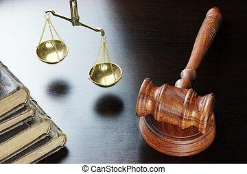 justice, table, noir, livre, vieux, marteau, juges, échelle