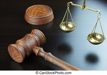 justice, table, noir, marteau, juges, échelle