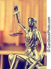 justice, thème, fond, bois, dame, statue, droit & loi