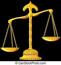 justice, vecteur, échelle, or
