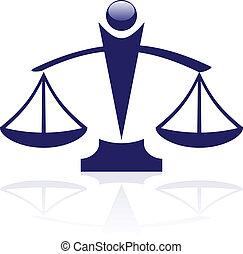 justice, vecteur, -, icône, balances