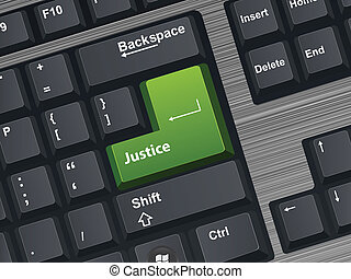 Justice - Vector Illustration of a computer keyboard.