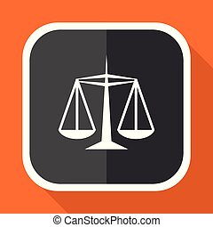 Justice vector icon. Flat design square internet gray button on orange background.