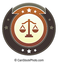 justicia, botón, escalas, imperial