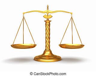 justicia, concept., oro, escalas