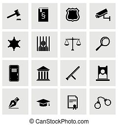justicia, conjunto, negro, vector, icono