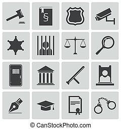 justicia, conjunto, negro, vector, iconos