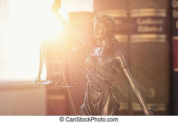 justicia de dama, (justitia), con, libros de ley
