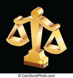 justicia, dorado, escalas, brillante, icono