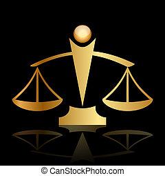 justicia, escalas, en, fondo negro