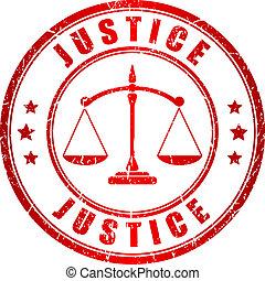 justicia, estampilla, vector