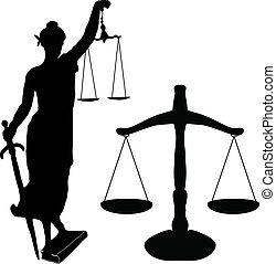 justicia, estatua, y, libra