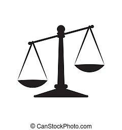 justicia, fondo., blanco, icono, aislado, escalas