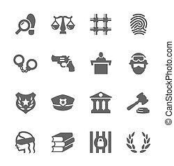 justicia, ley, iconos