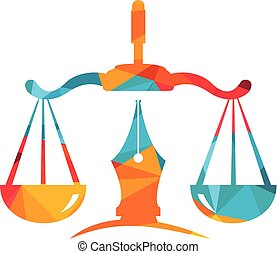 justicia, ley, vector, logotipo, balance, nib., pluma, escala, simbólico, judicial