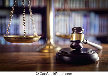 justicia, libros, martillo, ley, escalas