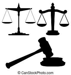 justicia, martillo, escalas