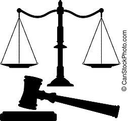 justicia, martillo, vector, escalas