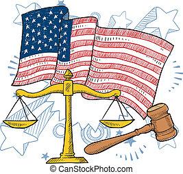 justicia, norteamericano, vector